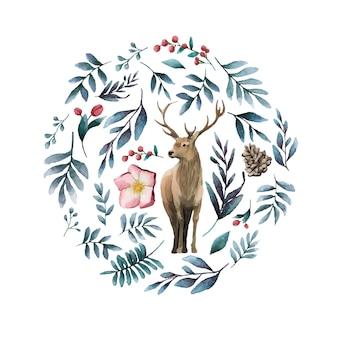 Ciervo rodeado de vector de acuarela de flor de invierno