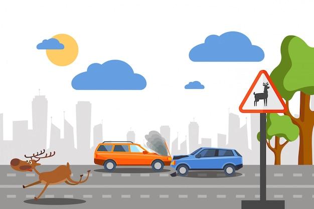 Ciervo salvaje accidente en carretera e ilustración. los coches chocan cerca de la señal de advertencia de movimiento de los animales del bosque. ciervo asustado corre