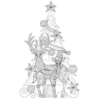 Ciervos y árbol de navidad, ilustración de boceto dibujado a mano para libro de colorear para adultos.