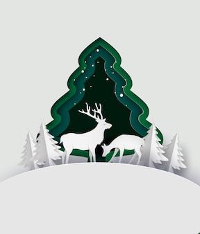 Ciervos en bosque con nieve. estilo de arte de papel.