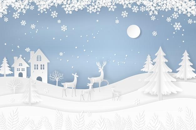 Ciervos en el bosque con nieve