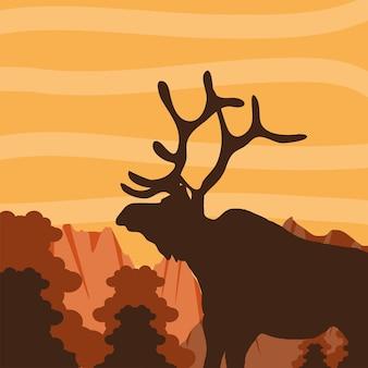 Ciervos del bosque silueta