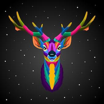 Ciervos coloridos arte pop fondo negro y estrella ilustración