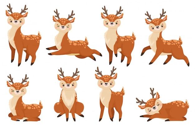 Ciervos de dibujos animados lindo. corriendo renos, cervatillos de vida silvestre y ciervos niño conjunto de ilustraciones vectoriales
