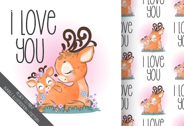 Ciervos encantadores lindo bebé animal con flores de patrones sin fisuras