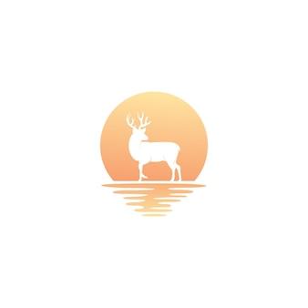 Ciervos exóticos con vector de diseño de logo de puesta de sol