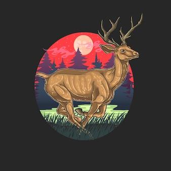 Ciervos en la ilustración del bosque