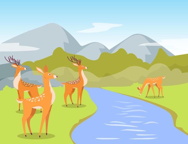 Ciervos en la ilustración de dibujos animados de abrevadero