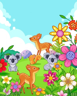 Ciervos lindos felices y koalas con flores jugando en el jardín