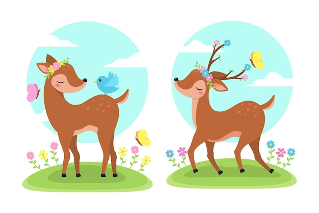Ciervos en la naturaleza de la ilustración de primavera
