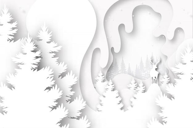 Ciervos en la naturaleza en papel blanco capas ilustración de vector de plantilla de fondo.