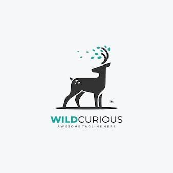 Ciervos de naturaleza con plantilla de vector de logotipo de hojas