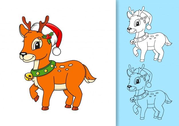 Ciervos de navidad en santa hat.