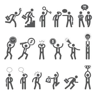 Cifras comerciales. personajes de palo simple en acción plantea gerentes jefes hombre de trabajo conversación de negocios diálogo vector gente pose de figura, posando ilustración de expresión de personaje de pie