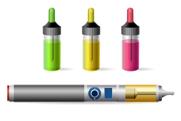 Cigarrillo electrónico de vapor y botella de jugo vaping