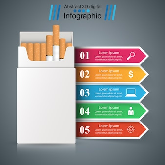 Cigarrillo, vaper, humo - infografía de negocios.