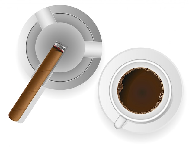 Cigarro ardiente en una ilustración de vector de cenicero y café