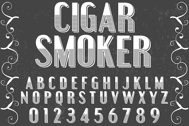 Cigarro de estilo gráfico alfabeto vintage