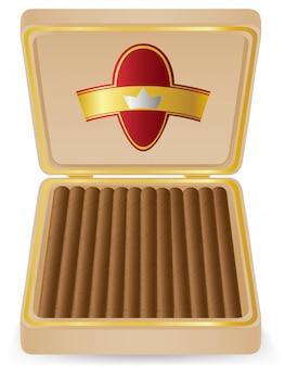 Cigarros en una ilustración de vector de caja