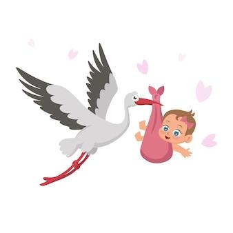 Cigüeña con bebé. estilo de dibujos animados