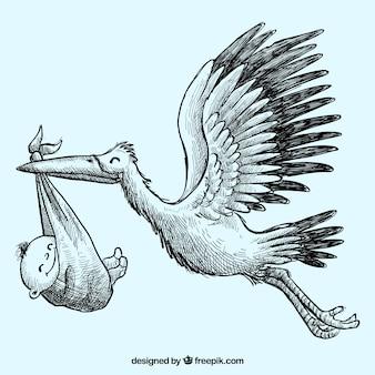 Cigüeña esbozada con un bebé