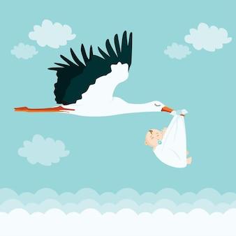 Cigüeña con lindo bebé
