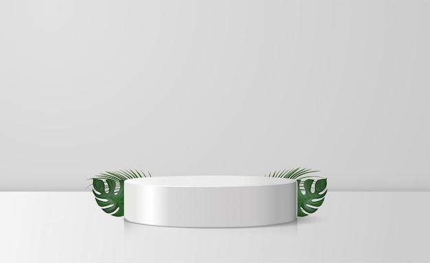 Cilindro blanco vitrina podio y hojas de palma y monstera en fondo blanco.
