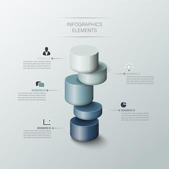 Cilindro de negocios moderno opciones de estilo 3d.