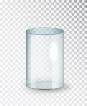Cilindro de vidrio. cilindro de vidrio transparente vacío aislado sobre fondo transparente. exponer caja expositora transparente. vector realista.