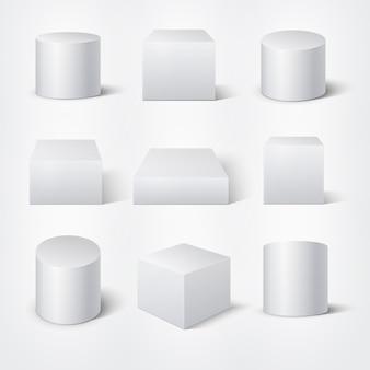 Cilindros y cubos blancos vacíos en 3d. plantilla de vector de productos podios. elemento geométrico del cilindro, figura de forma geométrica, colección, ilustración