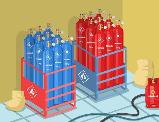 Cilindros con propano y butano en la ilustración de fábrica.