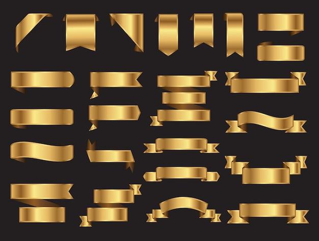 Cillection de banner de cinta dorada