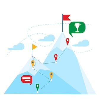 Cima de la montaña con bandera roja. concepto de éxito de liderazgo empresarial. paisaje de montaña. navegacion gps. ilustración vectorial.