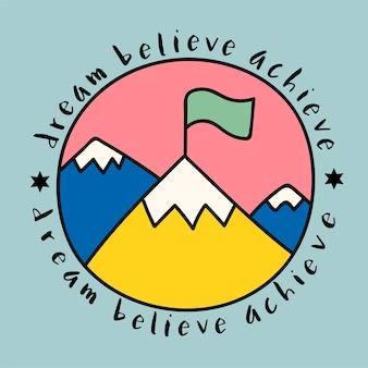 Cima de la montaña con el sueño de creer lograr citar
