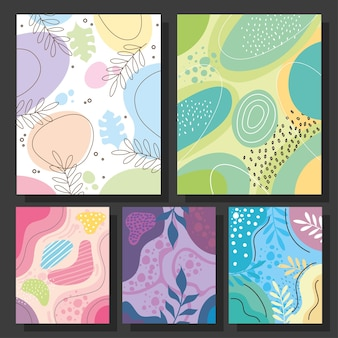 Cinco abstracs orgánicos establecer fondos de formas, diseño de ilustraciones vectoriales