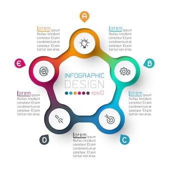 Cinco círculos con infografías de iconos de negocios.