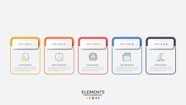 Cinco coloridos elementos rectangulares organizados en fila horizontal. plantilla de diseño de infografía moderna. concepto de 5 pasos estratégicos del desarrollo empresarial. ilustración de vector de visualización de procesos.