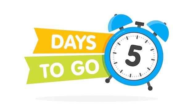 Cinco días para ir a la etiqueta, despertador azul plano con cinta, icono de promoción, mejor etiqueta de oferta
