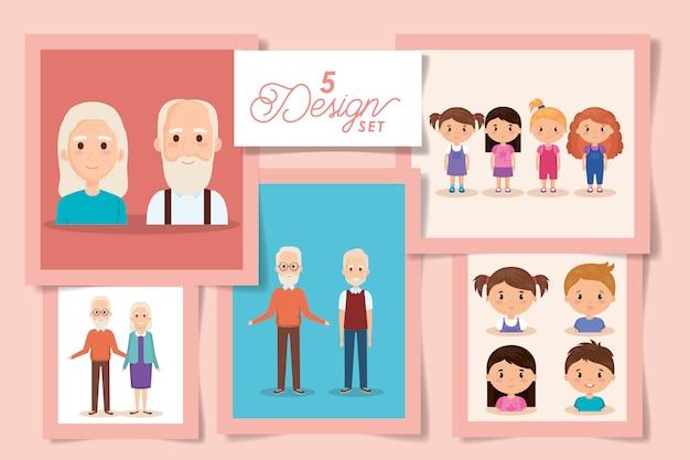 Cinco diseños de abuelos con nietos