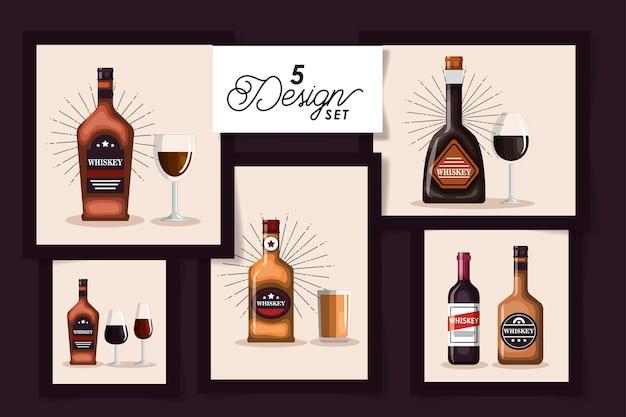 Cinco diseños de botellas de whisky y copa de vidrio.