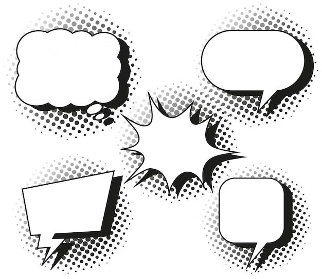 Cinco diseños de burbujas de discurso.
