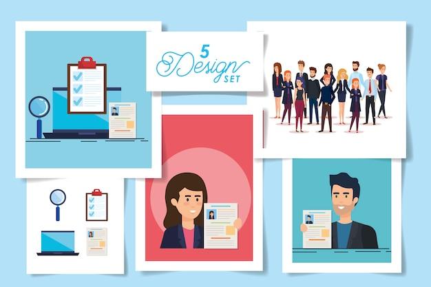 Cinco diseños de contratación con personas