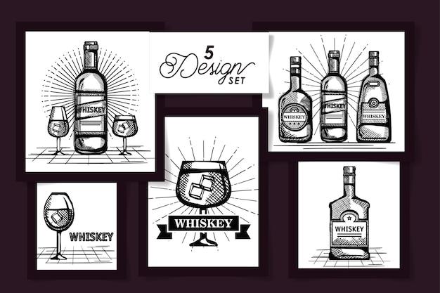 Cinco diseños de dibujo de botellas de whisky y vasos de vidrio