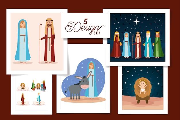 Cinco diseños de escenas de personajes del pesebre