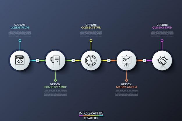 Cinco elementos circulares blancos con pictogramas en el interior conectados por líneas y botones de reproducción. historia de la visualización del desarrollo de la empresa.