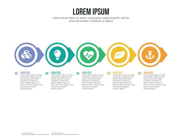 Cinco elementos de infografía y plantilla de presentación