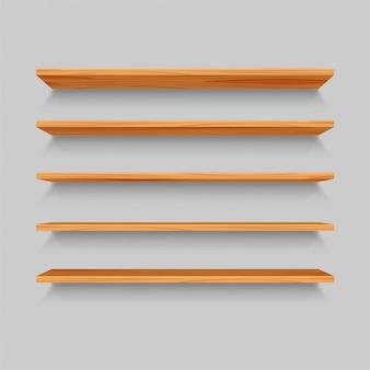 Cinco estantes realistas de madera. maqueta o plantilla de estante vacío aislado sobre fondo gris. parte del interior para su diseño. ilustración.