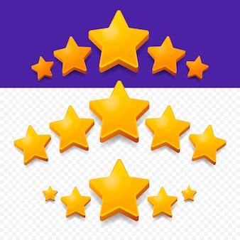 Cinco estrellas de calificación de oro.