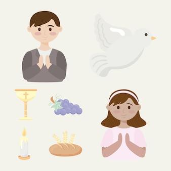 Cinco iconos de set de primera comunión