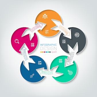 Cinco infografías círculo de conexión.
